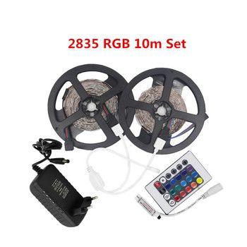 1 m 2 m 3 m 5 m Étanche 2835SMD LED Flexible lumière bandes RGB chaud Blanc Rouge Bleu Vert 12 v DC Un ensemble avec Adaptateur contrôleur