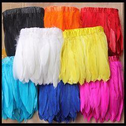 Multi Couleur plume D'oie versions 2 mètres/lot rubans de plumes d'oies Teints/15-17 cm Canard plume franges
