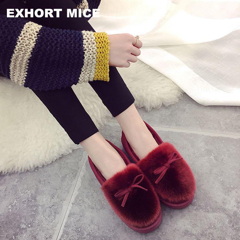Женская обувь зимние Сапоги и ботинки для девочек плоский круглый носок короткие плюшевые удобная обувь без шнуровки женские ботильоны Дам...