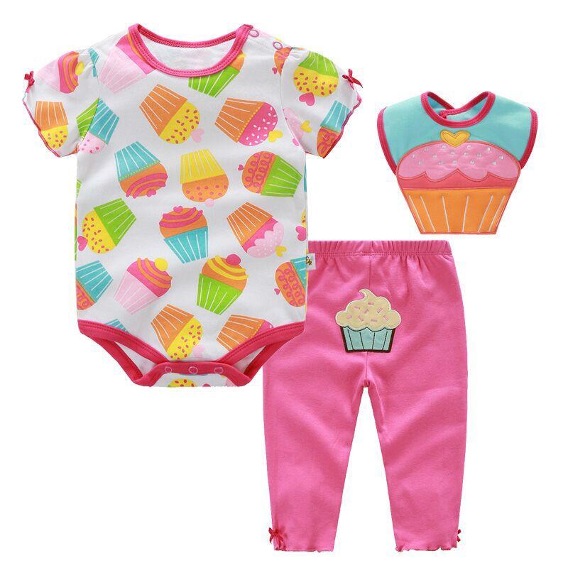 3 шт. для маленьких девочек летний комплект одежды Roupa Infantil хлопок Мороженое с Одежда для малышей набор ребенка ползунки + Брюки для девочек + ...