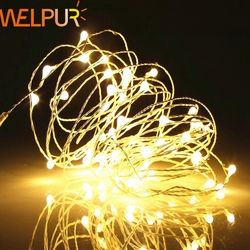 String light LED Holiday lighting Copper Silver Wire Battery 1m-10m  Fairy Christmas Garland Wedding Party Decoration Outdoor
