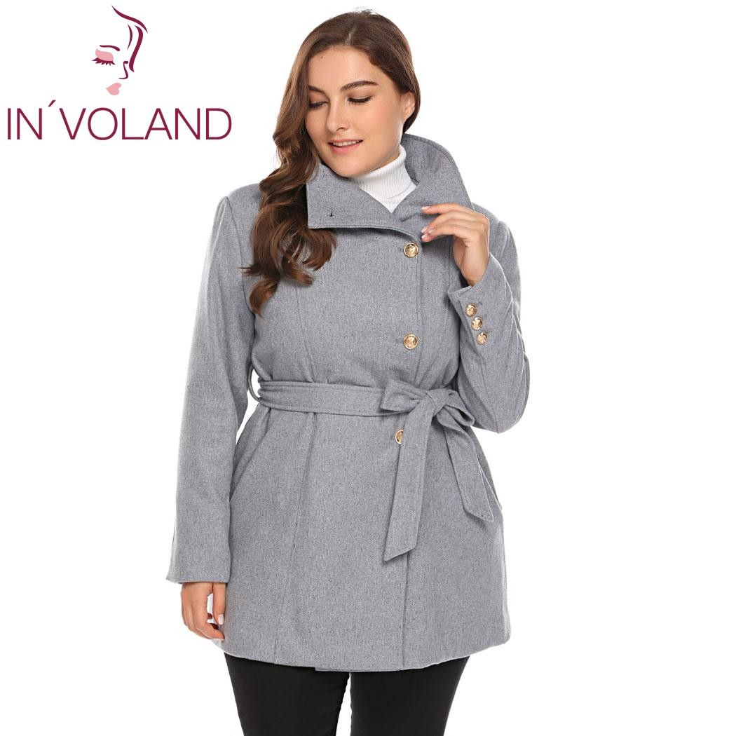 Women Plus Size L-5XL Wool Blend Coat Casual Warm Winter Lapel Long Sleeve Belted Slim Solid Large Overcoat <font><b>Trench</b></font> Coat Oversize