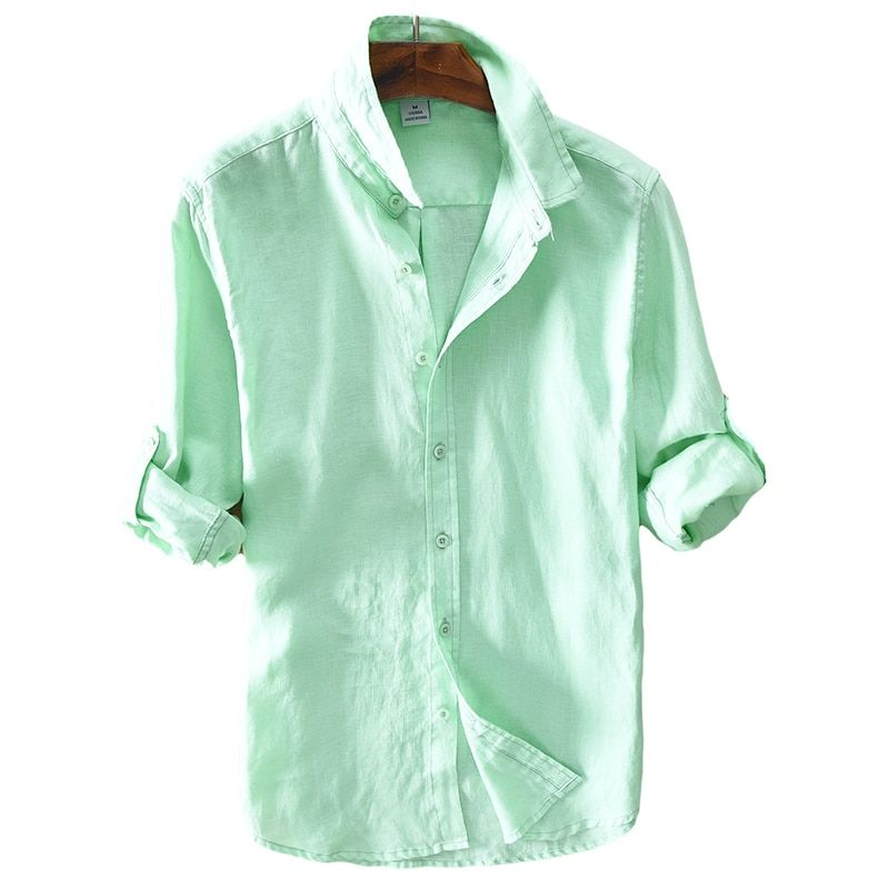 2017 New arrival linen shirt men solid green long shirt mens 100% flax casual men shirts brand soft shirts male clothes chemise