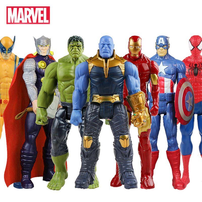 30cm Marvel Avengers Endgame Thanos Spiderman Hulk homme de fer capitaine amérique Thor Wolverine figurine jouets poupées pour enfant