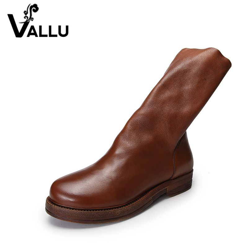VALLU 2018 Natural Leather Women Boots Mid Calf Back Zip Square Heel Original Design Handmade Vintage Lady Casual Shoes