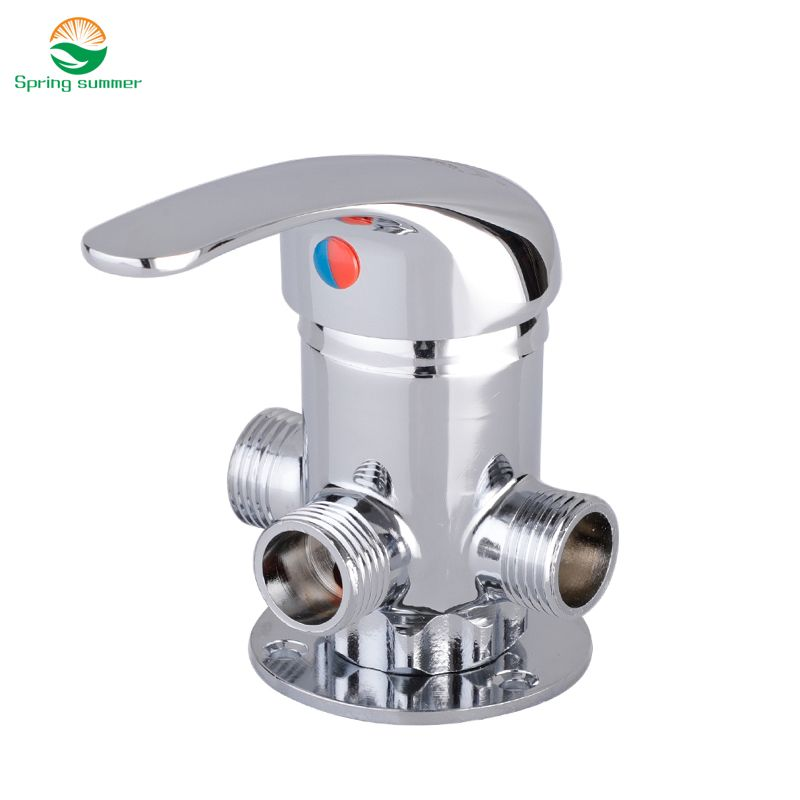 Free Shipping DN15(G1/2) Brass Thermostatic mixing valve solar water heater electric water heater mixing valve high quality