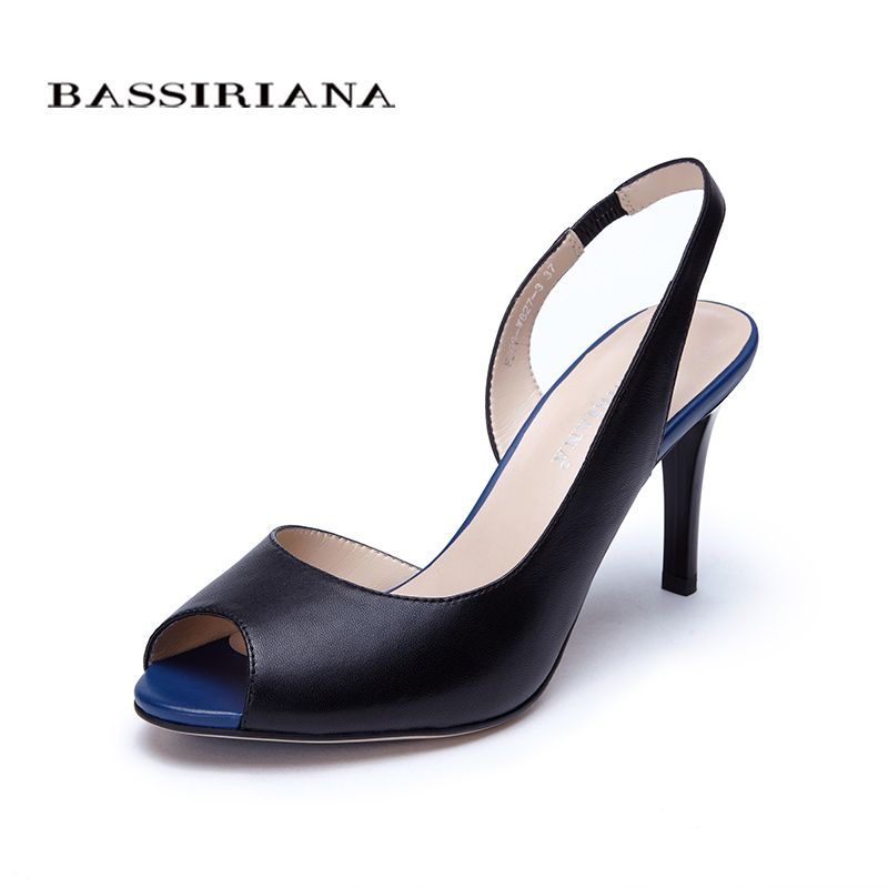 High thin heels Sandals for Woman Basic model Genuine leather Casual 35-40size Sandals women Peep toe Free shipping BASSIRIANA