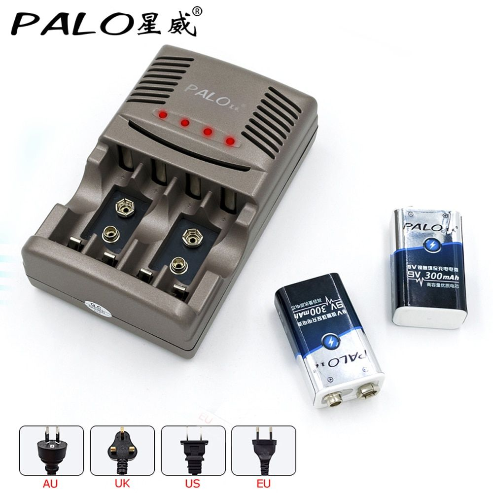 PALO Smart Charger For AA AAA Rechargeable Batteries For NI-MH 9V 6F22 Battery+<font><b>2pcs</b></font> 9V 300mah batteria Battery For Carmera