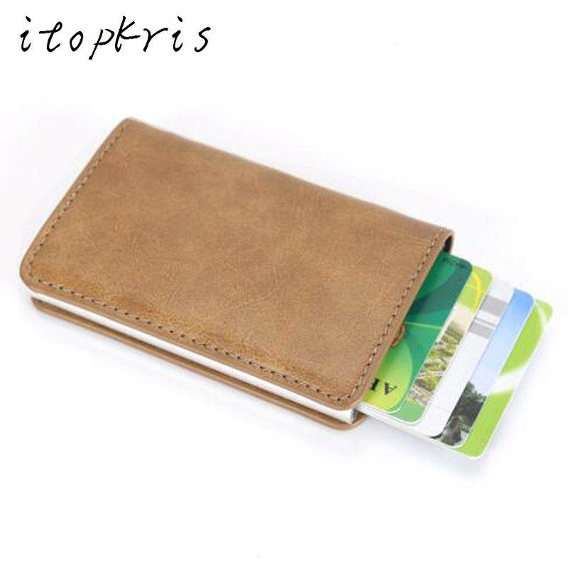 Itopkris Men Metal Credit Card Holder Travel Organization Money Clip Slim Protection Wallet Aluminum Case