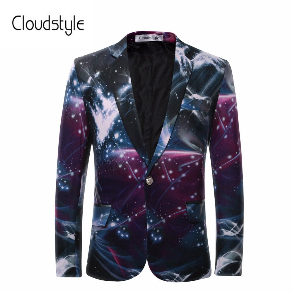 Cloudstyle 2018 Men's Blazers Galaxy Printed Business Casual Suit Formal Groom tuxedos Wedding Dress Beautiful Design Suits