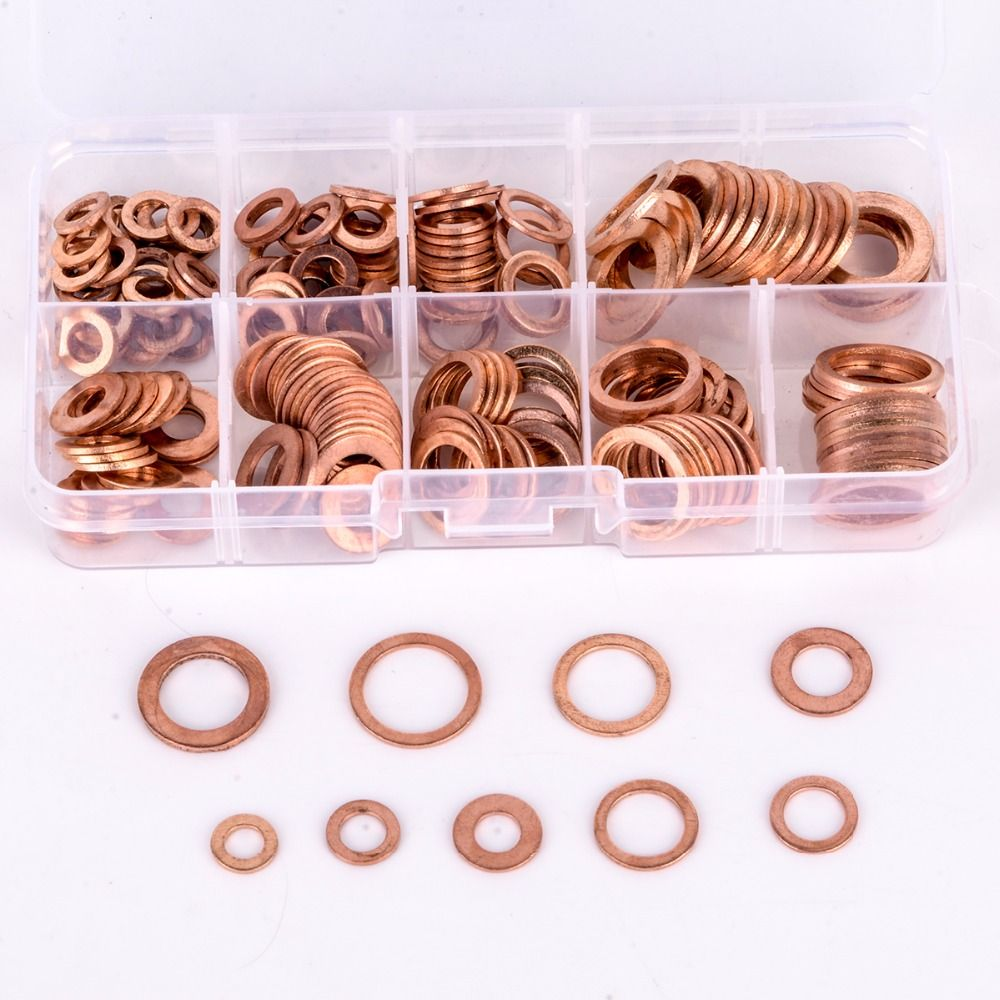 200pcs Copper Washers Gasket Set Flat Ring Seal Assortment Kit M5-M14 with Box For Hardware Accessories