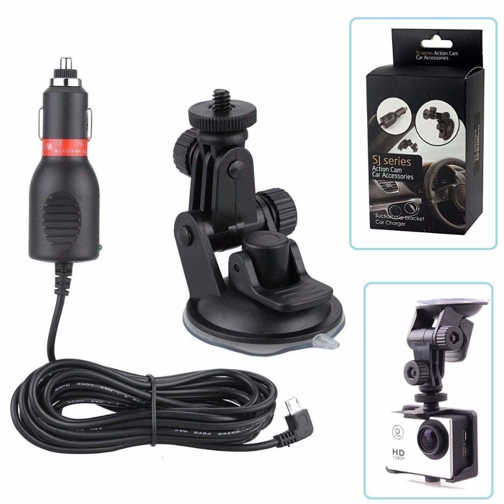Tekcam caméra d'action 3 mètres chargeur de voiture support de voiture pour sjcam sj4000 sj5000 SJ5000x M10 M20 eken h9r H8R H3R V8S Gitup amokov