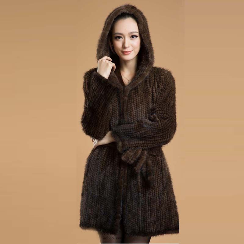 BFFUR Women Genuine Knitted Mink Fur Coats Jacket With Hooded Real Natural Furs Outerwear Fashion Warm Winter BF-C0117