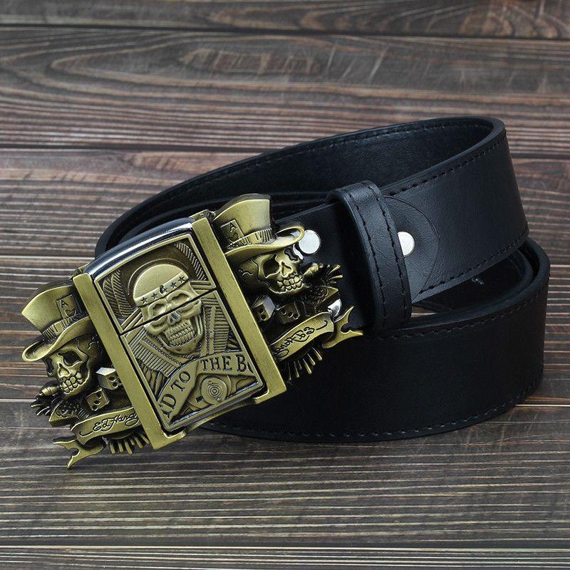 Crâne d'or nouveauté ceinture allume-cigare ceinture en cuir pour hommes briquet boucle briquets en métal kérosène briquet ceinture pour hommes cadeau