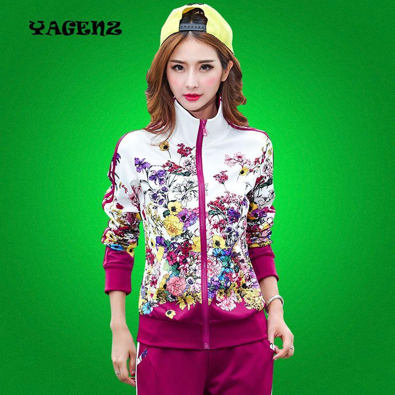 Autumn Lady Sportswear 2 Pieces Set Women Printed Coat+Pant Plus Size L-4XL Long Sleeve Fashion Women Casual Clothing Suit A139