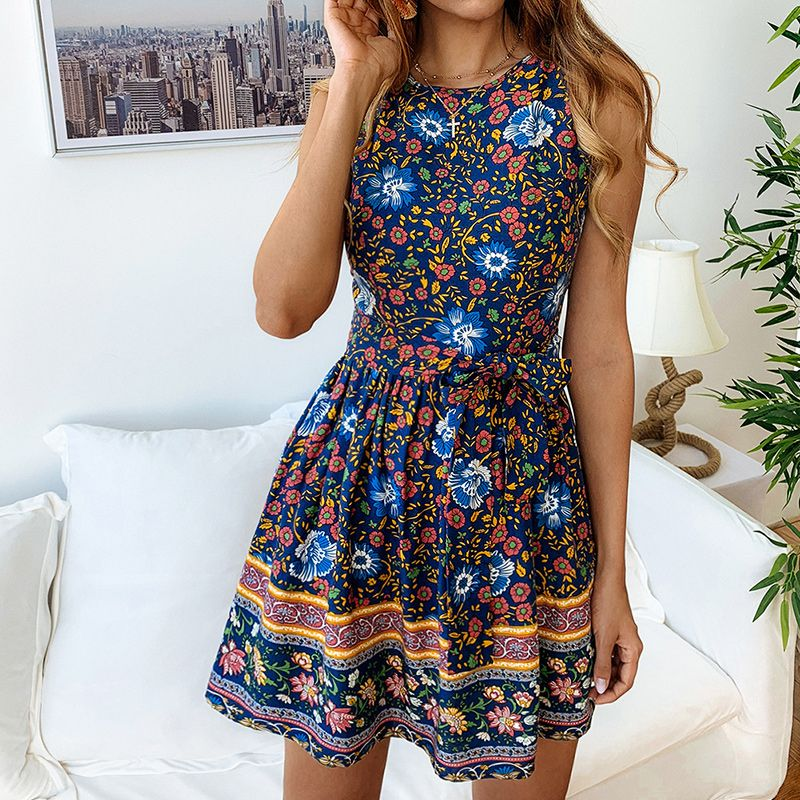 DeRuiLaDy 2019 Summer Floral Print Mini Dress Women O Neck Sleeveless Zipper Dresses Vintage Ladies Casual Dress Vestidos