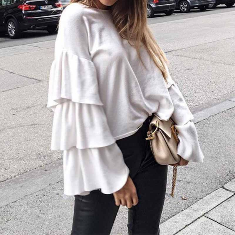 New Autumn Blouses 2017 Women Tops Sexy Ruffles Flare Sleeve O Neck Casual Loose Solid Shirts Fashion Blusas Femininas