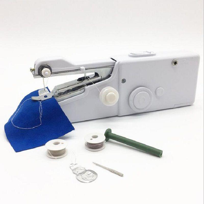 Mini machines à coudre portatives portatives point coudre couture vêtements sans fil tissus Machine à coudre électrique point ensemble