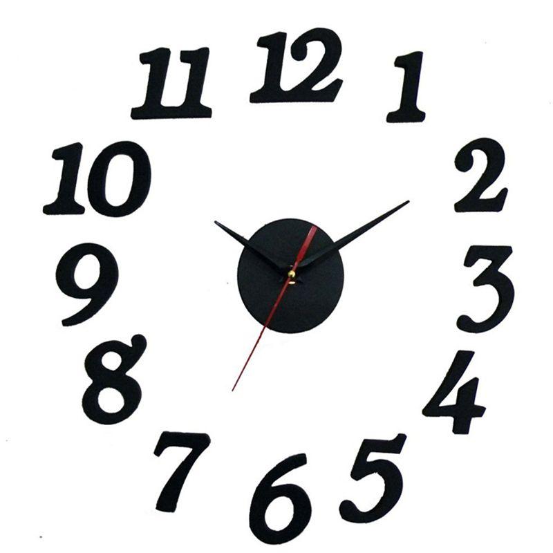 3D noir bricolage auto-adhésif horloge murale circulaire miroir horloge pour chambre cuisine Stickers muraux Design moderne décor à la maison