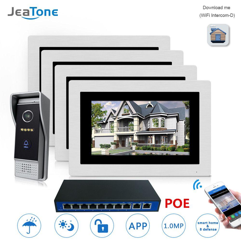 7 ''POE IP Intercom WIFI Video Tür Sprechanlage Drahtlose Tür Glocke Hause Wohnung Access Control System Touchscreen 1-4
