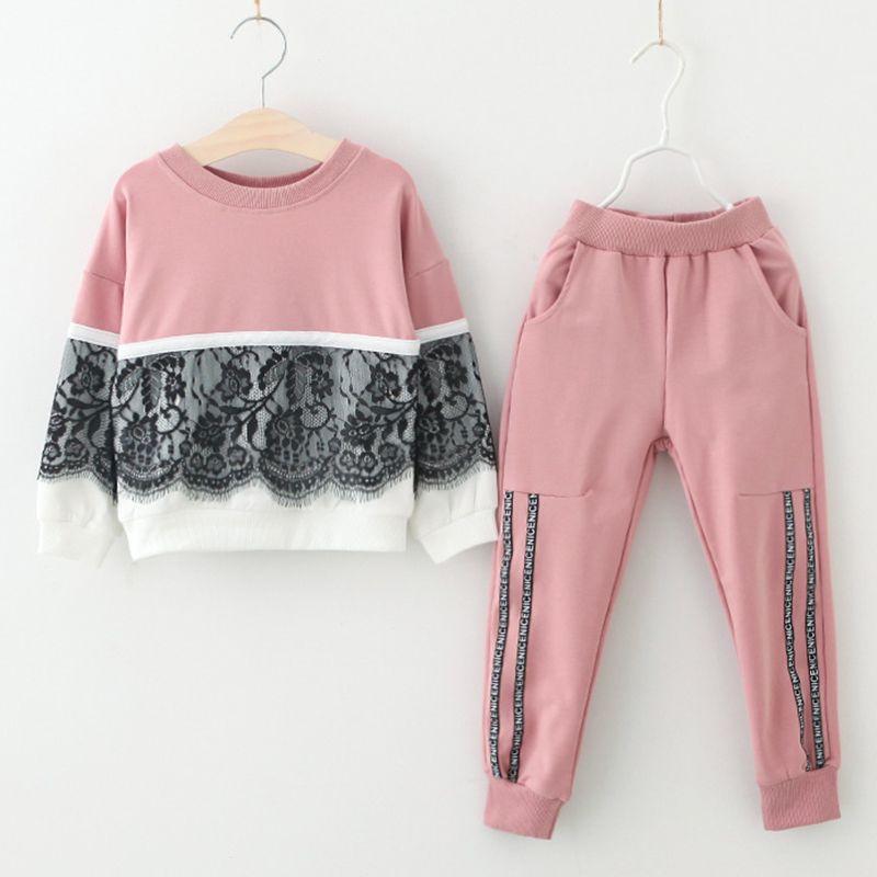 Enfants Vêtements Costumes Automne Filles Vêtements de Sport 2 pcs Dentelle Conception Vêtements Et Solide Couleur Pantalons Vêtements Ensembles Enfants hiver