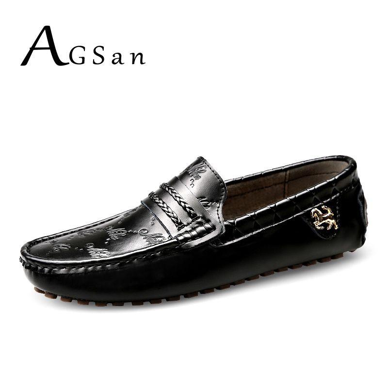 AGSan hommes italien mocassins en cuir véritable mocassins noir blanc plus la taille 49 48 47 hommes chaussures de conduite à la main appartements 12 11.5 11