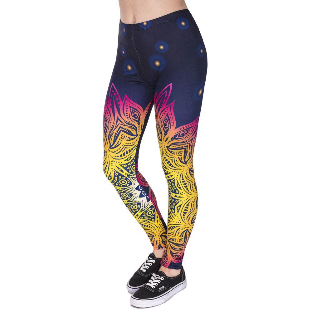 Printemps mode femmes Legins Mandala lumières impression 3D Sexy Legging taille haute doux femme Leggings