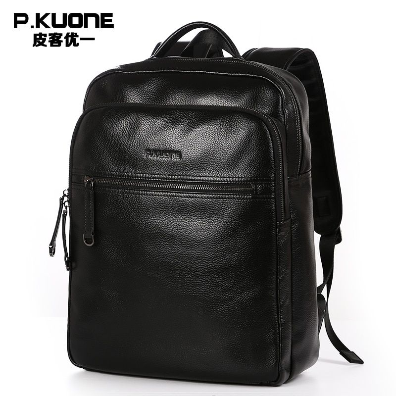 P.KUONE Genuine Leather 2018 New Fashion Men Luxury Male Bag High Quality Waterproof Laptop Messenger Travel Backpack School Bag