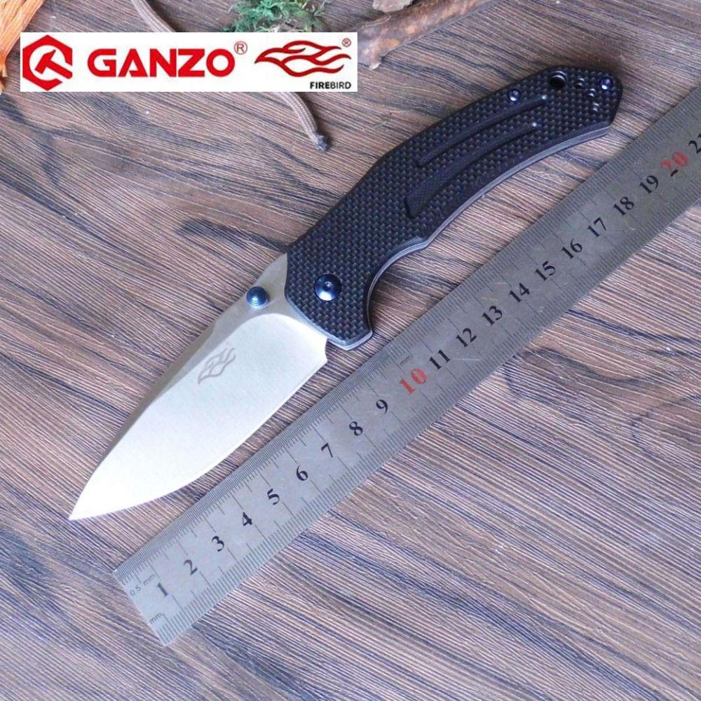 58-60HRC Ganzo F7611 440C G10 ou poignée en Fiber de carbone couteau pliant survie Camping outil couteau de poche tactique edc outil extérieur