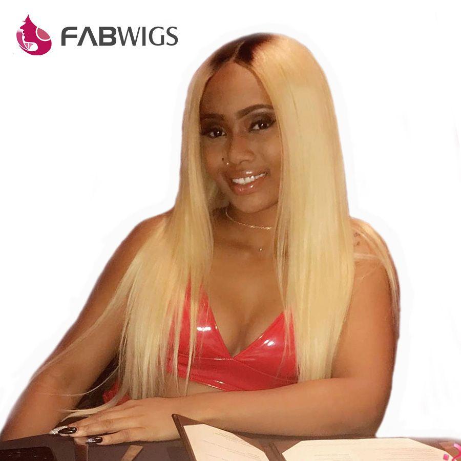 Fabwigs Ombre Blonde Lace Front Human Hair Wigs Brazilian Remy 1b/613 Pre Plucked Human Hair Wigs fir Women