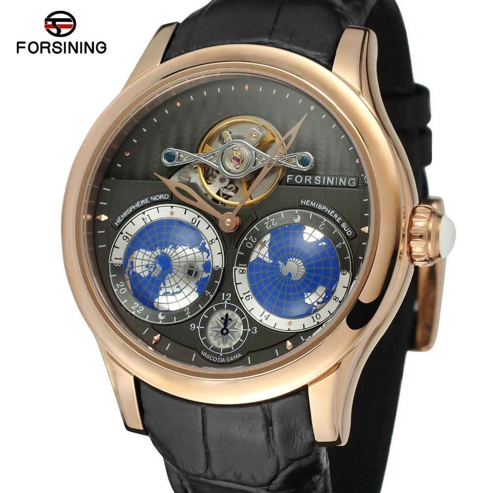 FORSINING Men's Brand Luxury Automatic Movement Stainless Steel Case World Map Dial Wrist Watch Fashion Design Watch FSG9413M3