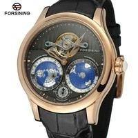 FORSINING de los hombres de la marca de lujo de movimiento automático de acero inoxidable caso mundo mapa Dial reloj de pulsera de diseño de moda reloj FSG9413M3