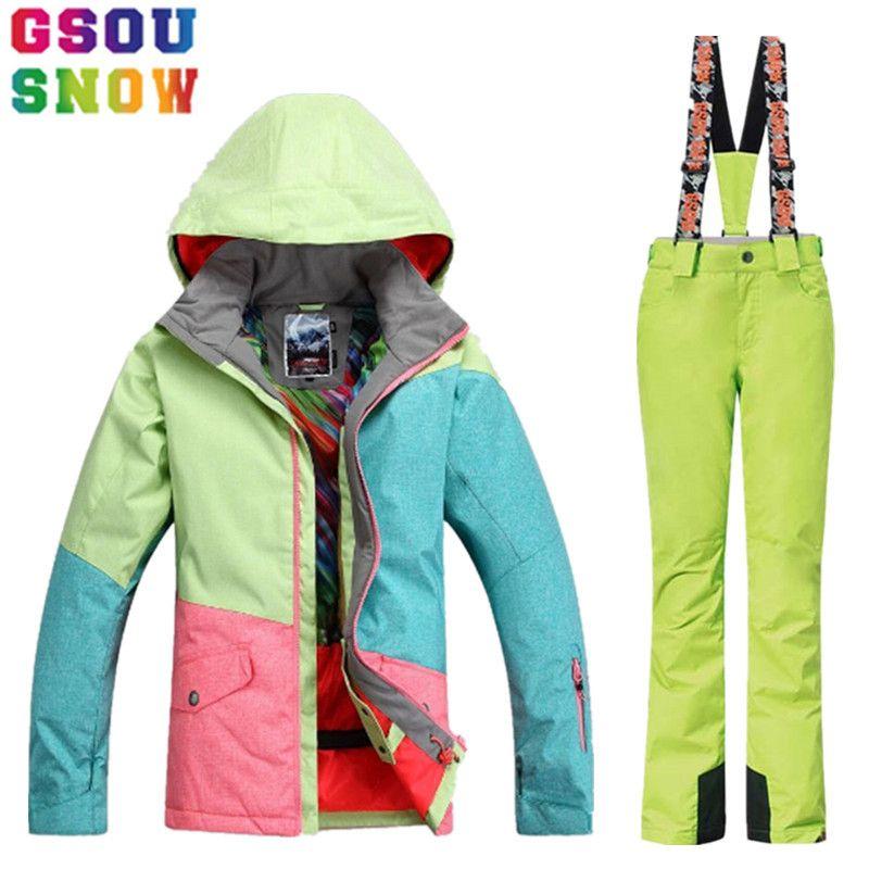 Marke GSOU SCHNEE Skianzug Frauen Winter Skijacke Hosen Wasserdichte Snowboardjacke Hosen Outdoor Mountain Ski Anzug Sport Mantel