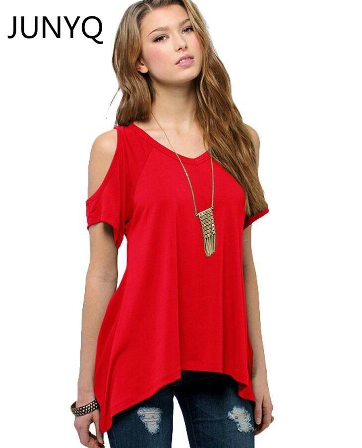 2019 marque vêtements été V pur coton à manches courtes sans bretelles col queue de poisson ourlet femme femmes T-shirt livraison gratuite S-5XL