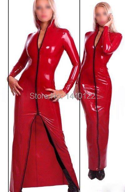 Rouge à manches longues Latex salle de bal danse robes en caoutchouc pour les femmes grande taille offre spéciale personnaliser le Service