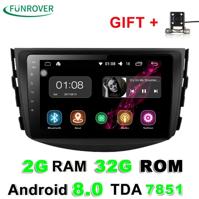 Funrover 2g+32g Android 8.0 Car Dvd For Toyota Rav4 2007 2008 2009 2010 2011 Radio Stereo Gps Navigation With Steering Wheel