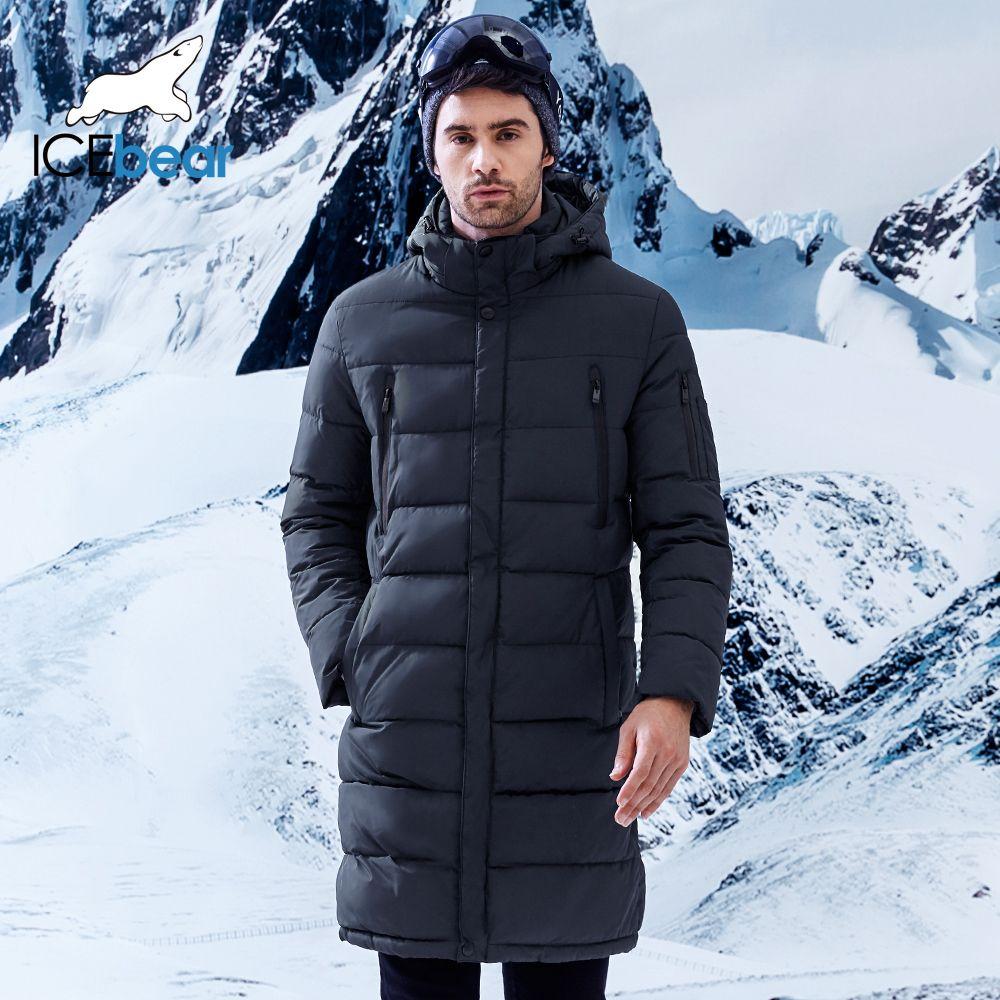 ICEbear 2018 Winter männer Lange Mantel Exquisite Arm Tasche Männer Solide Parka Warme Manschetten Design Atmungsaktive Stoff Jacke B17M298D