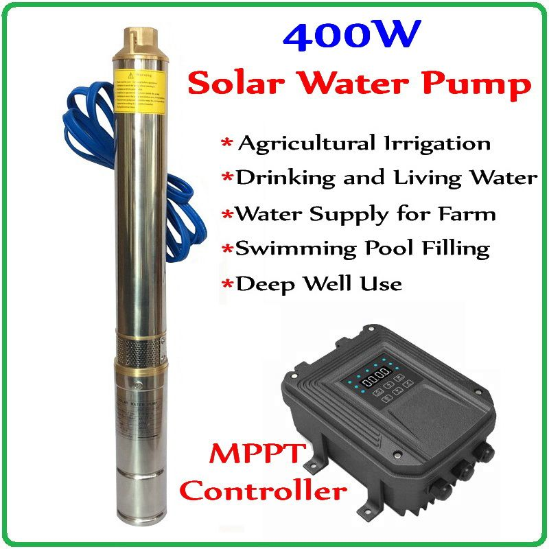 400W DC48V Brushless high-speed solar deep water pump with permanent magnet synchronous motor max flow 2.6T/H home& agriculture