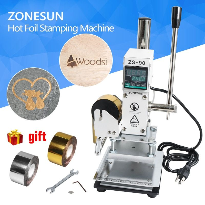 ZONESUN Hot Foil Stamping Machine Manual <font><b>Bronzing</b></font> Machine for PVC Card leather and paper embossing stamping machine