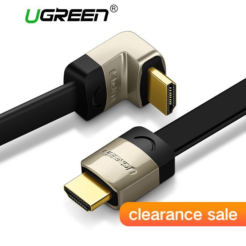 Ugreen metall HDMI flachkabel Winkel 90 grad Stecker-stecker 1 Mt 1,5 Mt 2 Mt 3 Mt HDMI 1,4 4 Karat 1080 P 3D für PS3 Xbox projektor Apple TV