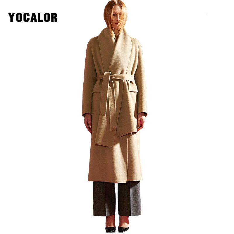 2017 Cashmere Female Overcoat Scarf Long Winter Wool Blend Women Autumn Outerwear Coats Sashes Uk Manteaux Femme Cloak Warm