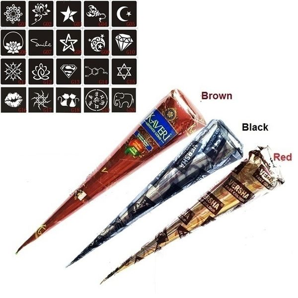 3 Pcs Henna Cones Red Brown Black + 20pcs Stencils Temporary Tattoo Kits Body Art Mehandi Ink For Body Paint  2017 @ME88