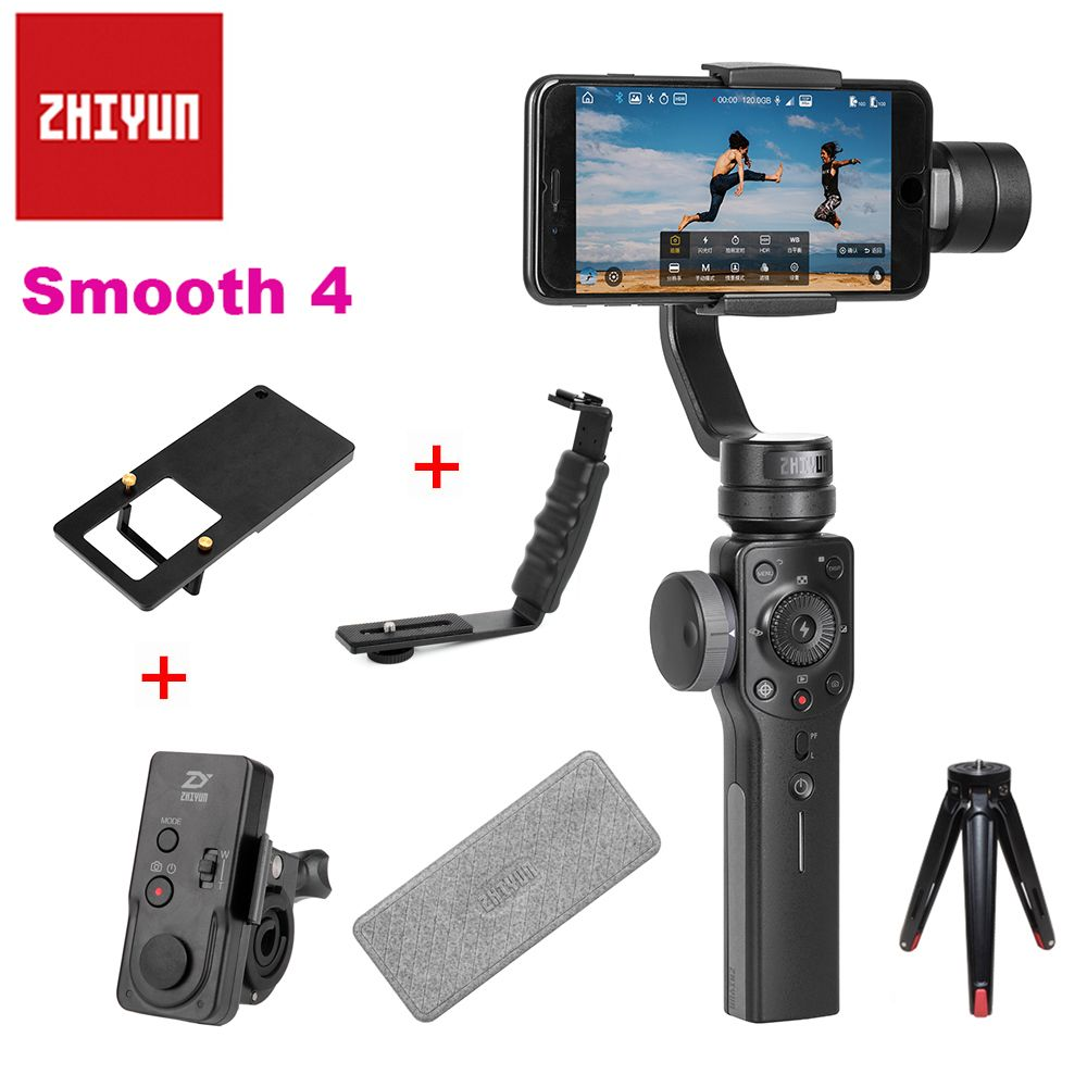 Zhiyun Smooth 4 Handheld 3-Axis Zoom Capability Handheld Gimbal Stabilizer for iPhone X 8P 8 Samsung S9 S8 Huawei P20 Xiaomi 6