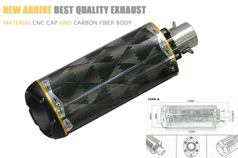 51mm universal motorcycle exhaust pipe Carbon fiber CNC aluminium alloy CBR R1 R6 crf 230 ESCAPE two bro TBR exhaust with veido
