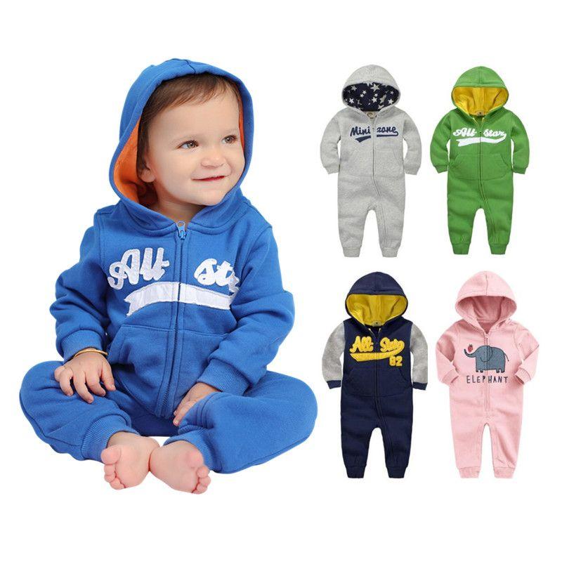 2019 printemps bébé barboteuses nouveau-né coton survêtement vêtements bébé Long sweat à capuche et manches longues infantile garçons filles combinaison bébé vêtements garçon