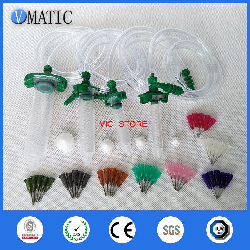 Alibaba Recommendation 30CC+10CC+5CC+3CC Liquid Dispenser Solder Paste Adhesive Glue Syringe + Dispensing Needle Tip freeshiping