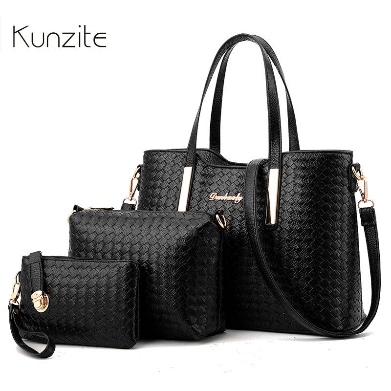 Kunzite Brand Women's Luxury Composite Shoulder Bags Ladies Handbags Clutches Bags Set 3 High Quality Sac A Main Femme De Marque