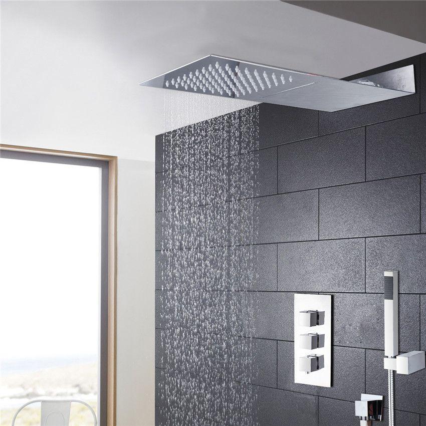 bathroom tow shower way shower faucet set bar shape super thin brass body rainfall shower head and 3 control valve shower set