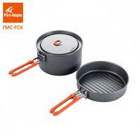 Fuego de arce de senderismo de utensilios de cocina al aire libre de baño Pinic conjunto FMC-FC4 duro de aleación de aluminio de la cocina 1 sartén 1 olla conjunto portátil para acampar macetas