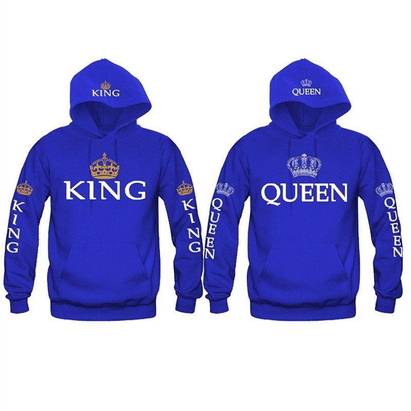 Bigsweety nouvelle mode roi reine imprimé sweat-shirt amoureux Couples Hoodies sweat-shirt à capuche décontracté pulls survêtements